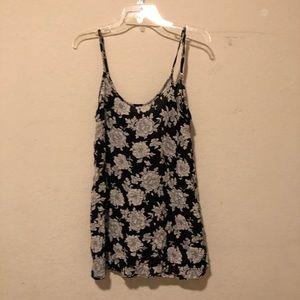 Brandy Melville Black Floral Slip Dress